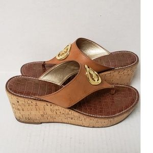 Sam Edelman Cork Wedge Thong Leather Sandals